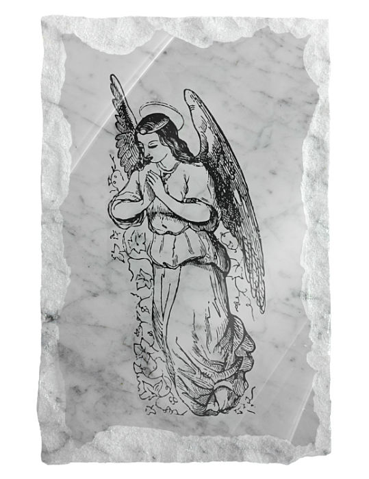 Image of a Guardian Angel praying etched on a white marble background