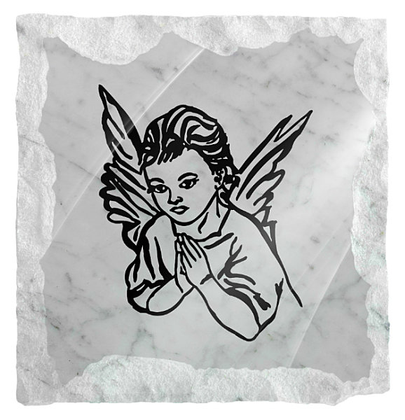 Image of an Angel praying etched on a white marble background