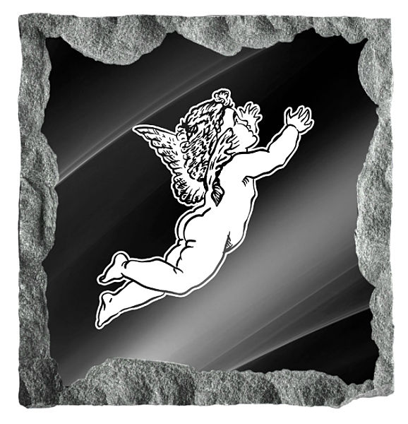 Image of a Heavenly Angel etched on a black granite background