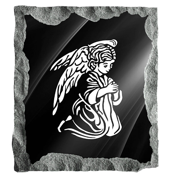 Image of an Angel praying etched on a black granite background
