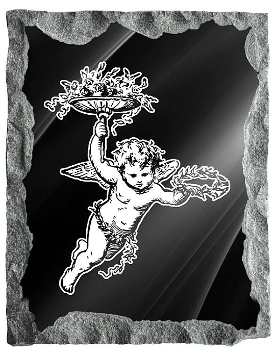 Image of a Heavenly Angel bearing gifts etched on a black granite background
