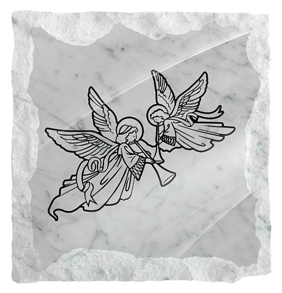 Image of Angels playing music etched on a white marble background