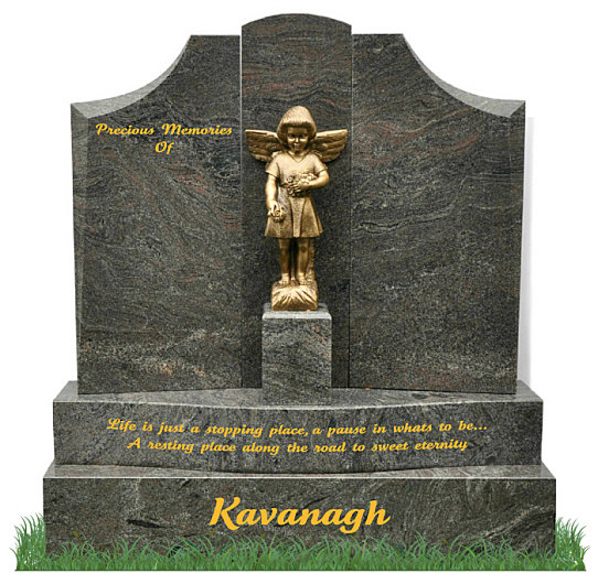 Double Base Gates of Heaven headstone in Paradiso Granite. A bronze statue of an angel is positioned in the center of the gates with inscriptions to be engraved on each side.