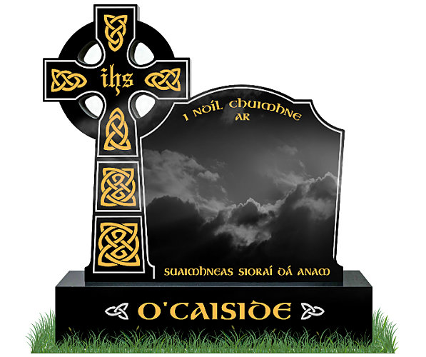 Celtic Top9 Headstone in Black Granite. All inscriptions in gold leaf with Celtic lacing engraved in gold leaf. Font: Gandalf Bold