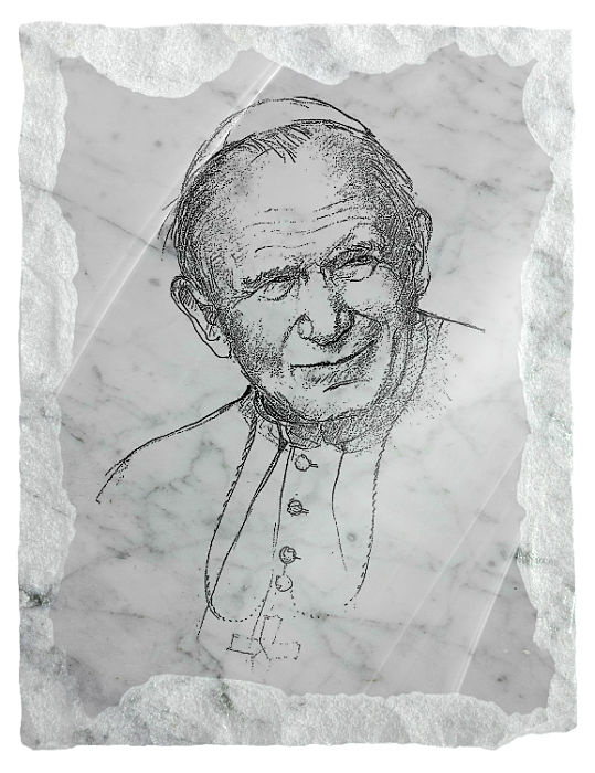 Image of Saint John Paul II etched on a white marble background