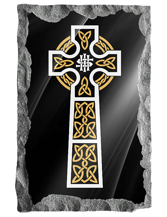 Image of Celtic Cross etched in silver and gold on a black granite background