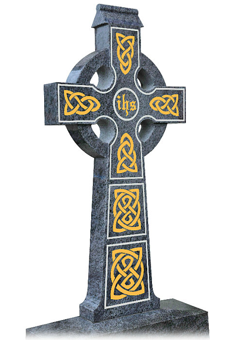 Detail on Irish Celtic Cross no4. Celtic lacing engraved into cross in gold leaf with a silver trim. IHS (I have suffered) in center of cross.