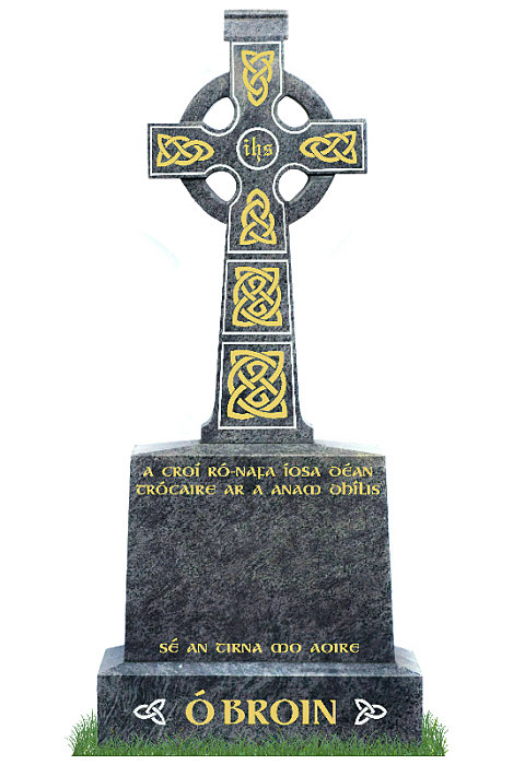 Irish Celtic Cross no4 in Bahama Blue Granite. Celtic Lacing and inscriptions engraved in gold leaf with trim and Celtic knots in engraved in silver. Font: Gandalf Bold