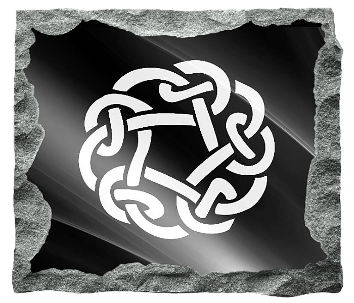 Irish Celtic Circle Image etched on a black granite background