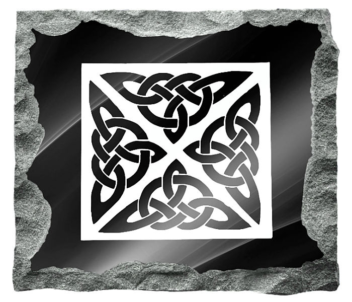 Image of Celtic Knots etched on a black granite background