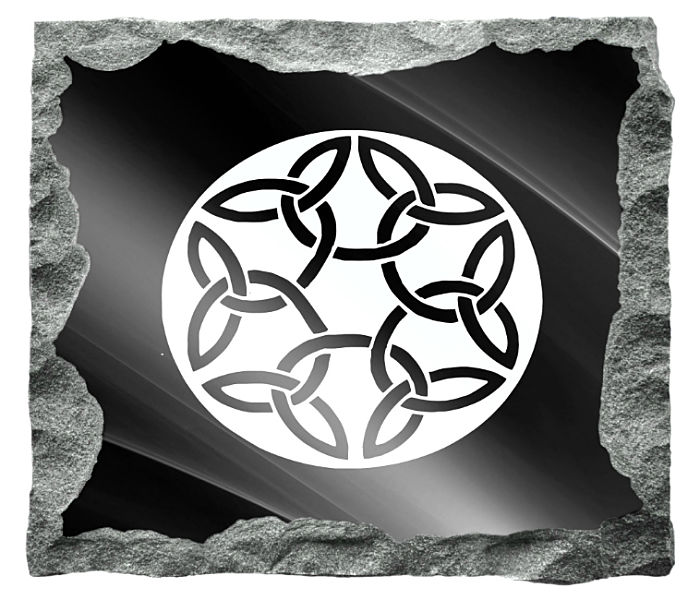 Circular Celtic Knots Image etched on a black granite background