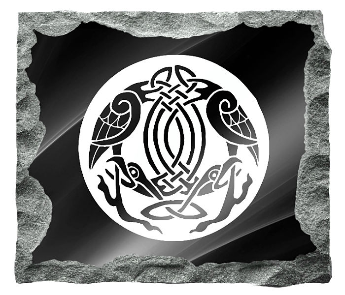 irish Celtic Headstone Image etched on a black granite background