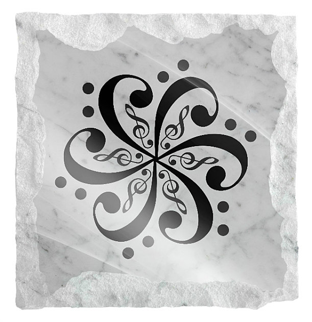 Image of Abstract Music Symbol etched on white marble background