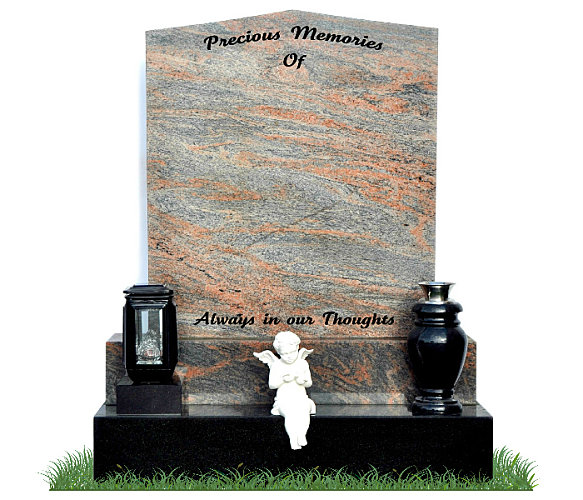 Apex Headstone in Multicolor Granite. A solar light and granite flower vase rest on a black granite base and a small angel cherb in the center. Inscriptions engraved in matte black. Font: Tartine Script lettering.