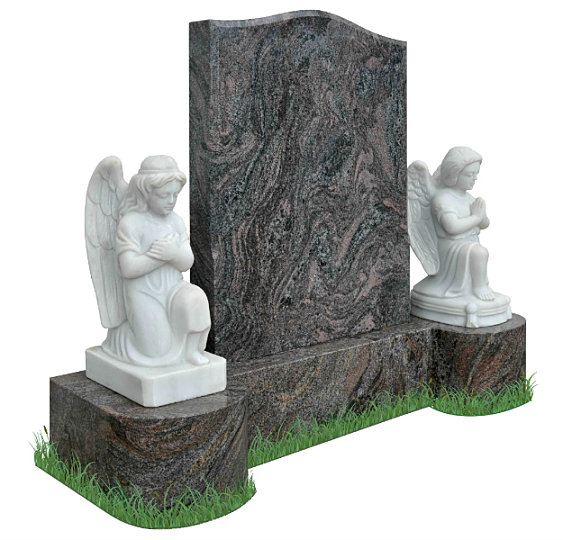 Ogee Headstone with marble angels in Paradiso Granite (angle view). Matching curved base with boy and girl statues resting on either side. Inscriptions and dove engraved in silver. Font: Mason Block 51