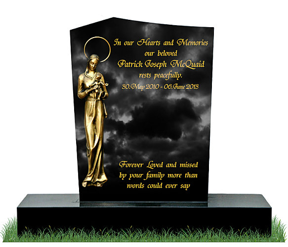 Modern Apex Gravestone in Black Granite. A flat-back bronze statue of Our Lady with the Child Jesus in positioned to the left with inscriptions engraved on the right. Font: Tiranti Solid lettering.