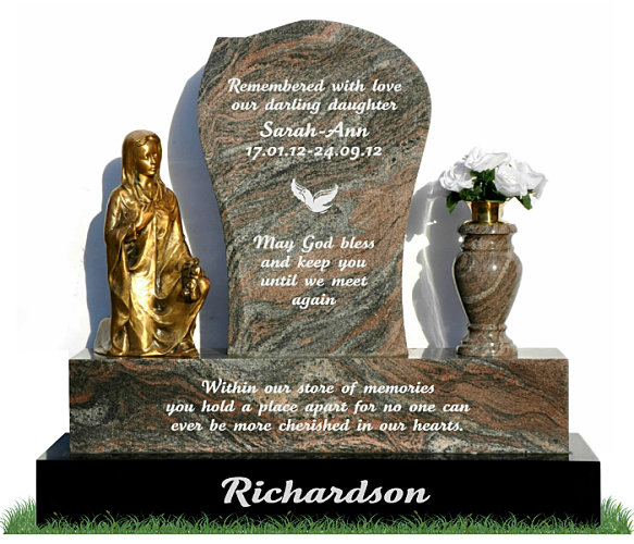 Small Child's Headstone in Paradiso Granite. Bronze statue of Lady kneeling with flowers rests on the left and a matching paradiso flower vase rests to the right. Inscriptions and image of dove engraved in silver. Font: Tartine Script lettering.