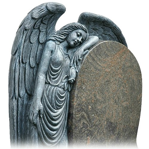 Sleeping Angel Headstone in Himalaya Blue Granite (close-up). Hand carved from solid granite this memorial shows an angle sleeping with a rose. Inscriptions engraved in silver. Font: Signature Script lettering