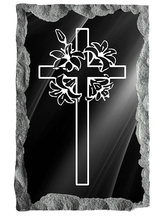 Image of cross with flowers etched in silver on a black granite background