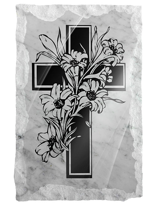 Image of cross and flowers etched on a white marble background
