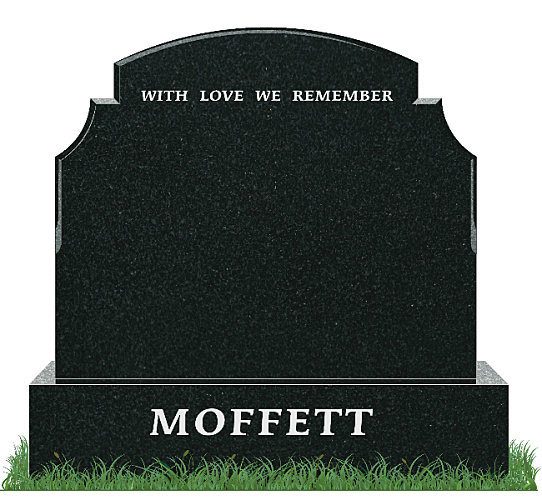 Traditional Top9 Headstone in African Black Granite. Inscriptions engraved in silver. Font: Times Roman 76 lettering.