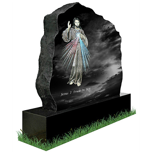 Divine Mercy Rustic Headstone