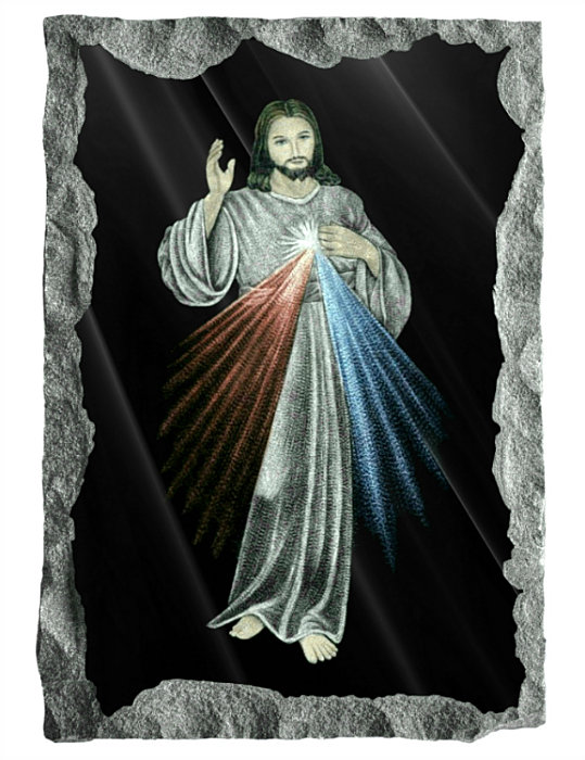 Sacred Image of the Divine Mercy. Etched and hand painted in color on black granite.