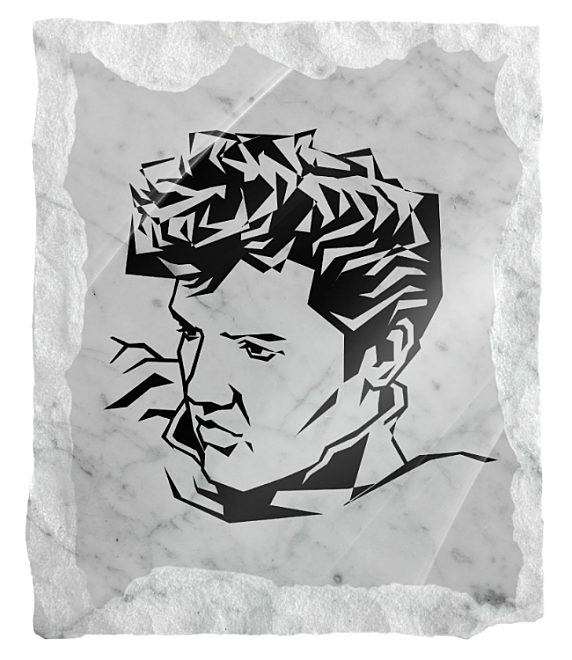 Image of Elvis Presely etched on a white marble background