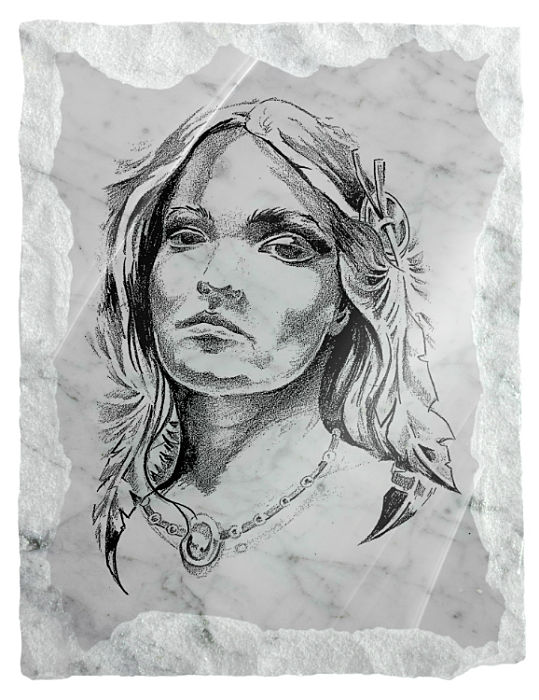 Image of a native American girl etched on a white marble background