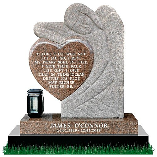 Gothic Angel Headstone in Multi-Color Granite. Memorial poem engraved on a polished heart. Gothic style angel with rustic finish rests on a polished base. Solar light is optional. Inscriptions engraved in silver. Font: Times Roman 76 lettering.