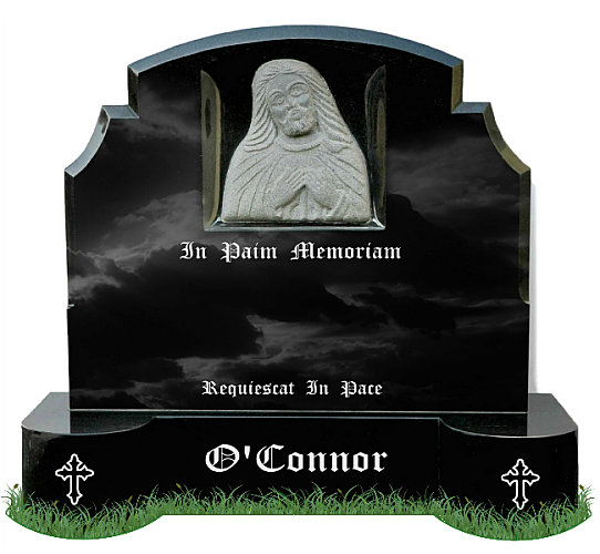 Gothic Style Top9 Gravestone in Black Granite. Sacred Heart of Jesus carved in center of memorial. Curved base with Gothic crosses engraved on each side. Latin Inscriptions engraved in Silver. Font: Old English MT lettering.