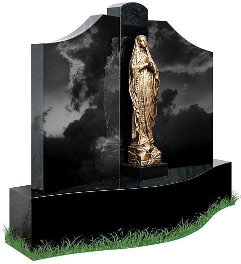 Single Base Gates of Heaven headstone (angle view) in Black Granite. A bronze statue of Our Lady of Lourdes is positioned in the center of the gates with inscriptions to be engraved on each side.