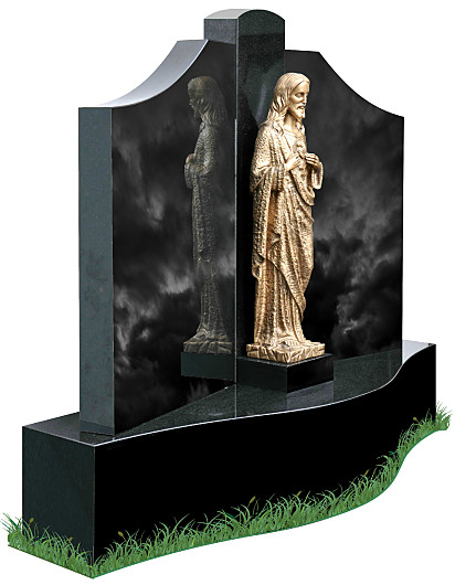Single Base Gates of Heaven headstone (angle view) in Black Granite. A bronze statue of the Sacred Heart of Jesus is positioned in the center of the gates with inscriptions to be engraved on each side.