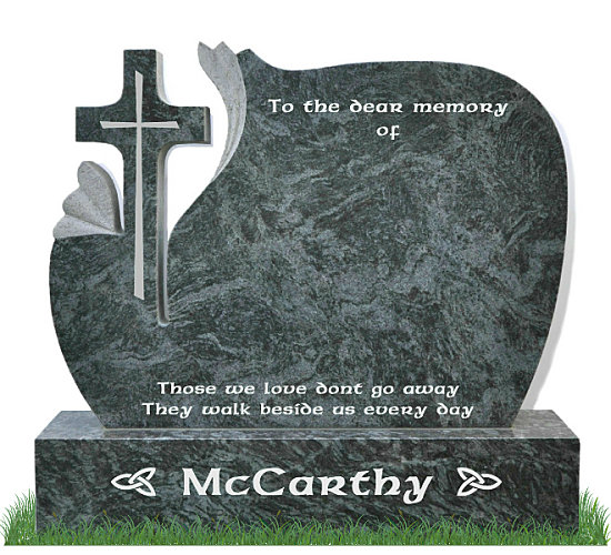 Lily Cross Gravestone in Bahama Blue Granite. A slim cross is engraved in the center of the stone cross. Inscriptions engraved in silver.Font: Ennis Celtic lettering