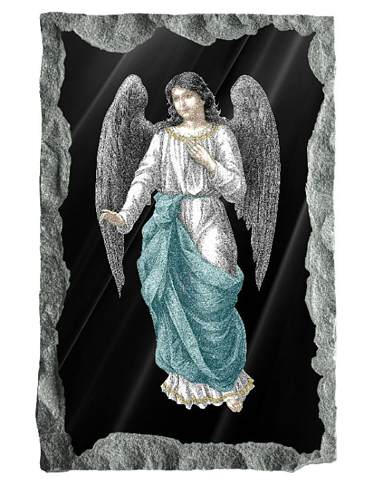 Image of the Angel Gabriel etched and hand painted in color on a black granite background