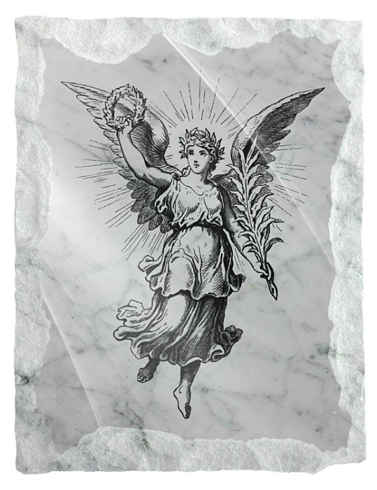 Image of a Heavenly Angel etched on a white marble background