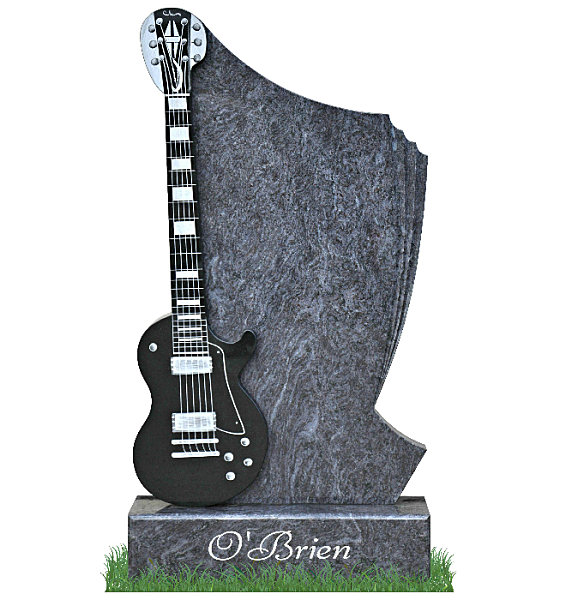 Guitar Gravestone in Bahama Blue Granite. A polished black granite guitar is combined with the bahama blue granite on the left. Three polished groves gently cascade down the right side. Guitar details and surname on base etched in silver. Font: Bernhard Modern BT with Swash Lettering