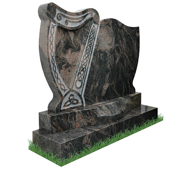 Irish Harp Headstone in Aurora Granite (angle view). Exclusively designed by Treanor Stone-Tec. This headstone incorporates a harp with Celtic lacing and a curved sunken base for a surname. Inscriptions engraved in silver. Font: Mason Block 51 lettering.