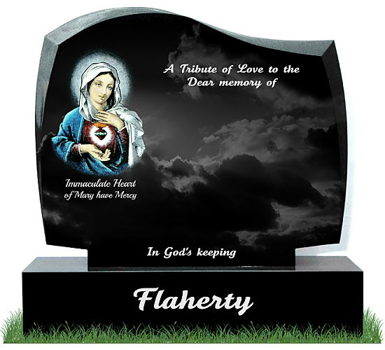 D30 Gravestone in Black Granite. Image of the Immaculate Heart of Mary etched and hand painted in color. Inscriptions engraved in silver. Font: Tartine Script lettering.