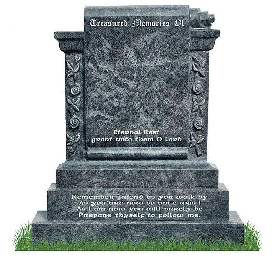 Carved Roses Scroll Monument in Bahama Blue Granite. Headstone inscriptions engraved in silver. Font: Ennis Celtic lettering.