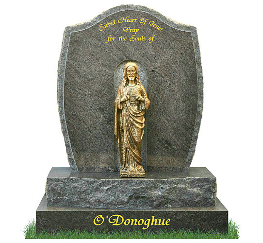 Rustic Grotto Headstone in Paradiso Granite. Bronze statue of the Sacred Heart of Jesus rests in the center of the grotto. Inscriptions engraved in gold leaf. Font: Tiranti Script lettering.