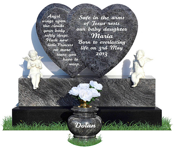Double Heart Headstone
