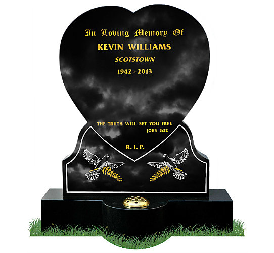 Traditional Heart Shaped Headstone in Black Granite. Images of doves with sheaf of wheat etched in gold and silver. Round base with flower vase in center. Inscriptions engraved in gold leaf. Fonts: Old English MT lettering and Mason Block 51.