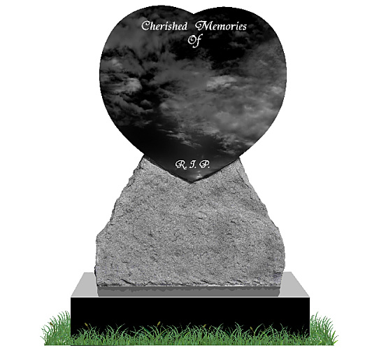 Rustic Heart Headstone in Black Granite. All inscriptions engraved in silver. Font: Tiranti Solid lettering.