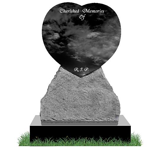 Rustic Heart Headstone