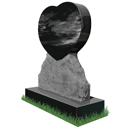 Rustic Heart Headstone (angle view) in Black Granite. All inscriptions engraved in silver. Font: Tiranti Solid lettering.