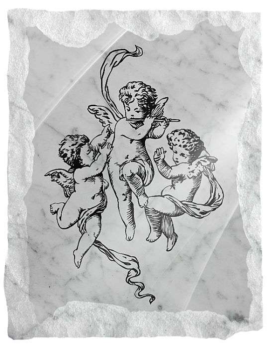 Image of Heavenly Angels playing music etched on a white marble background