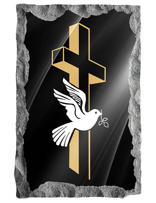 Image of three dimensional cross and a dove etched in silver and gold on a black granite background