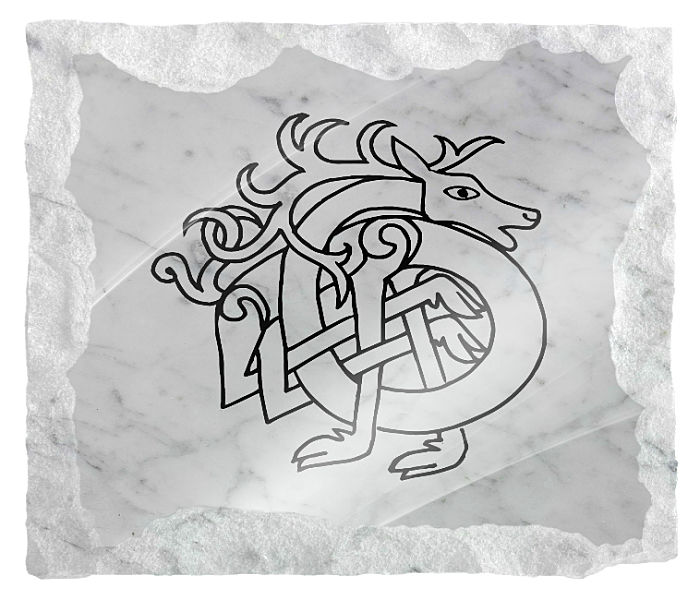Horse Celtic Design etched on a white marble background