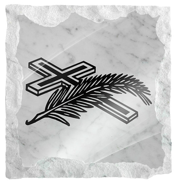Image of cross and a sheaf of wheat etched on a white marble background